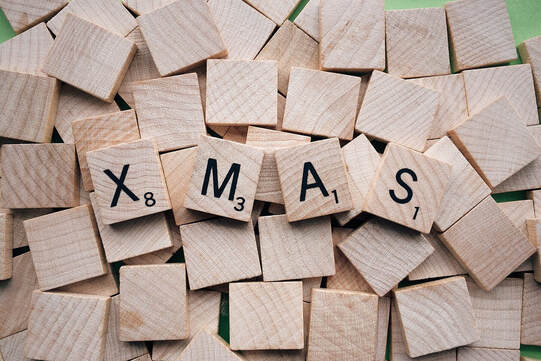 Scrabble pieces spelling Xmas
